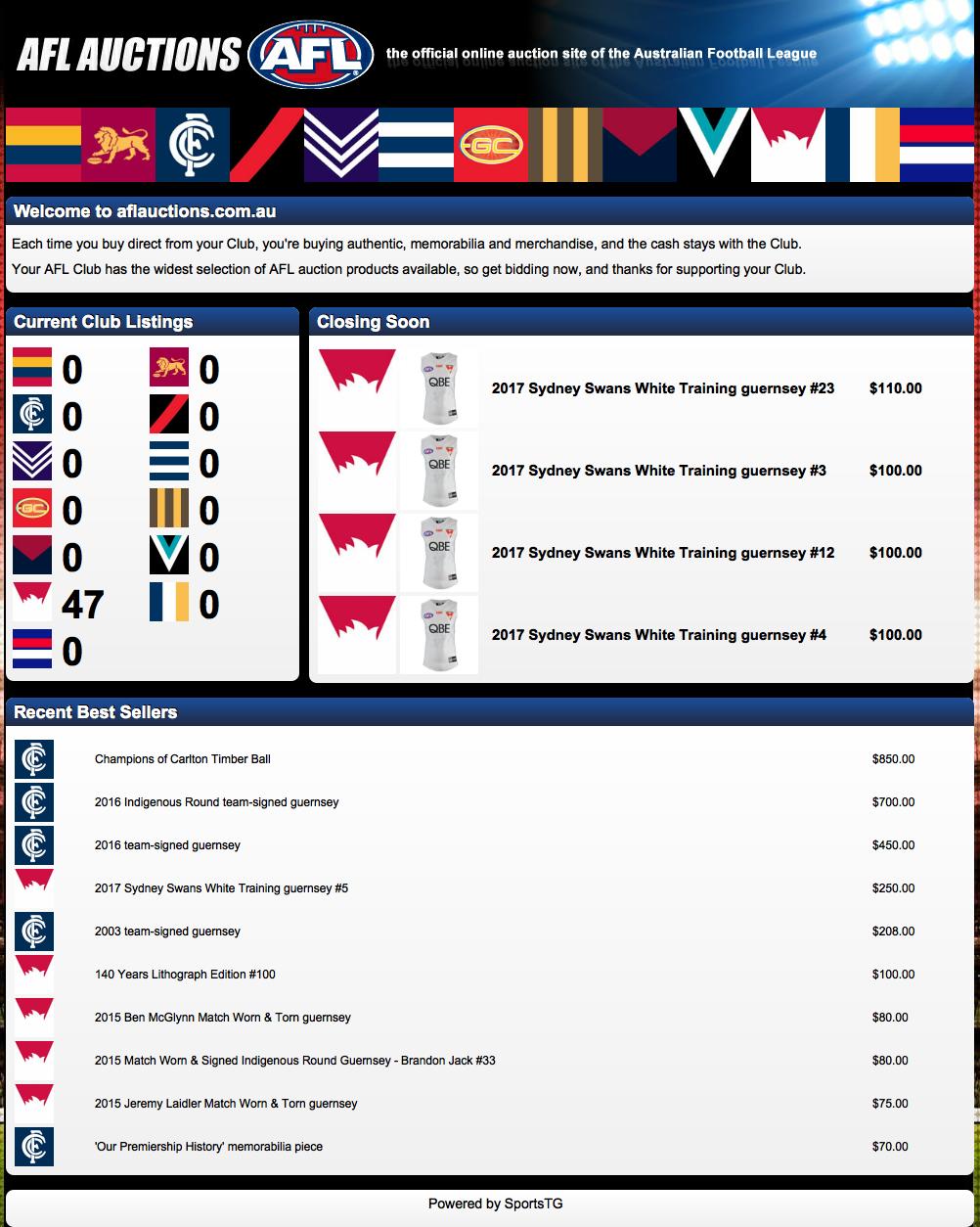 AFL Online Auctions